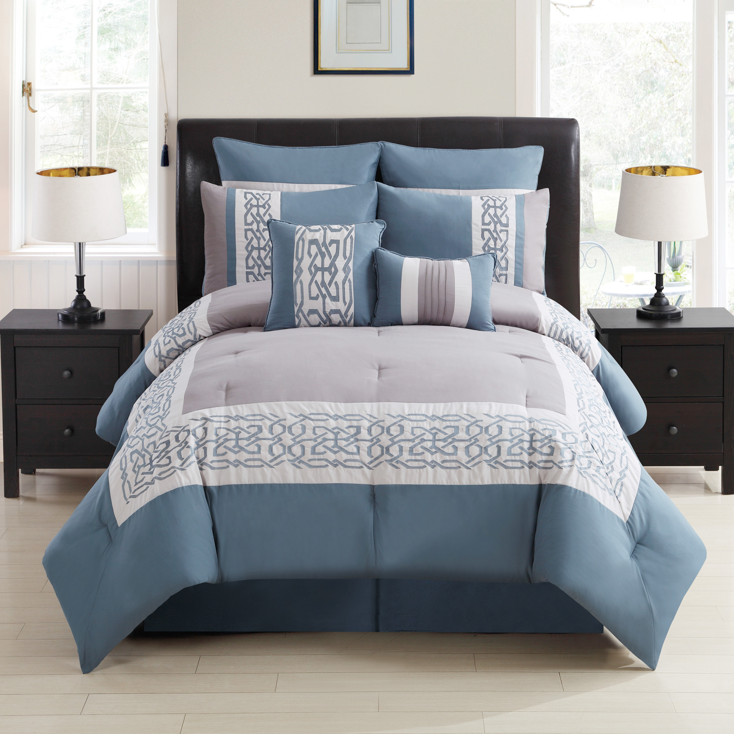 Brinley co embroidered 8 pc queen size comforter set ebay for Bedroom bedding sets