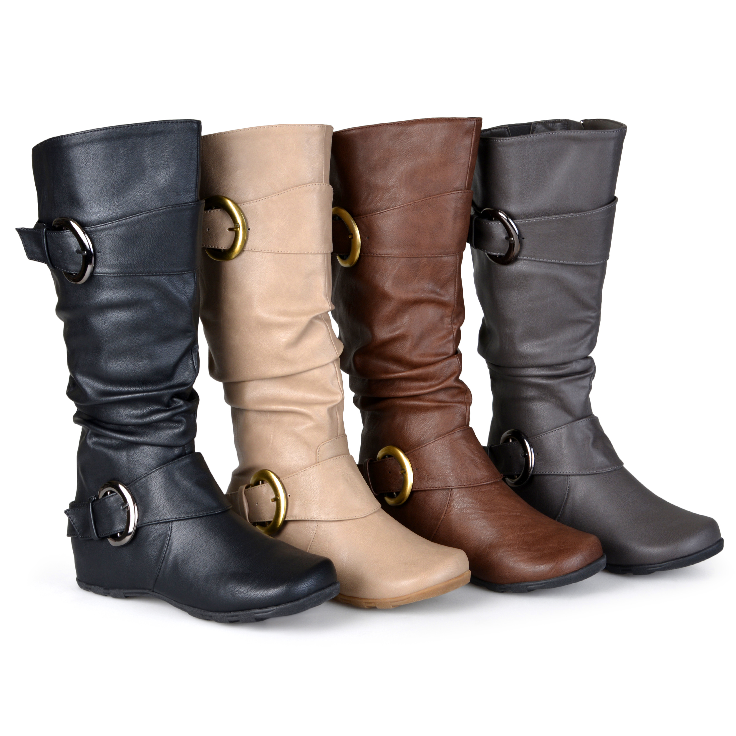 brinley co womens wide calf slouchy buckle detail boots