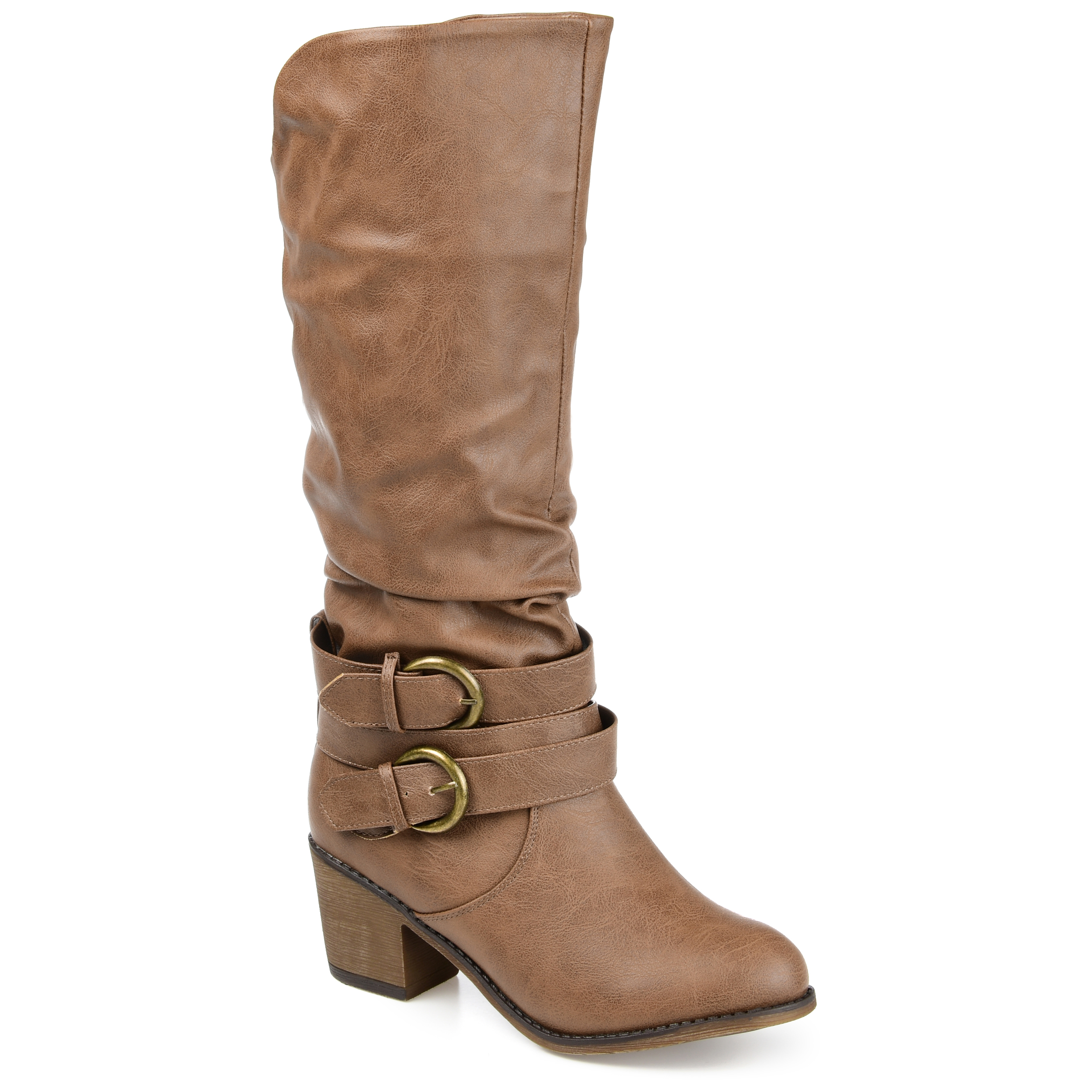 brinley co womens wide calf slouch buckle high heel boots