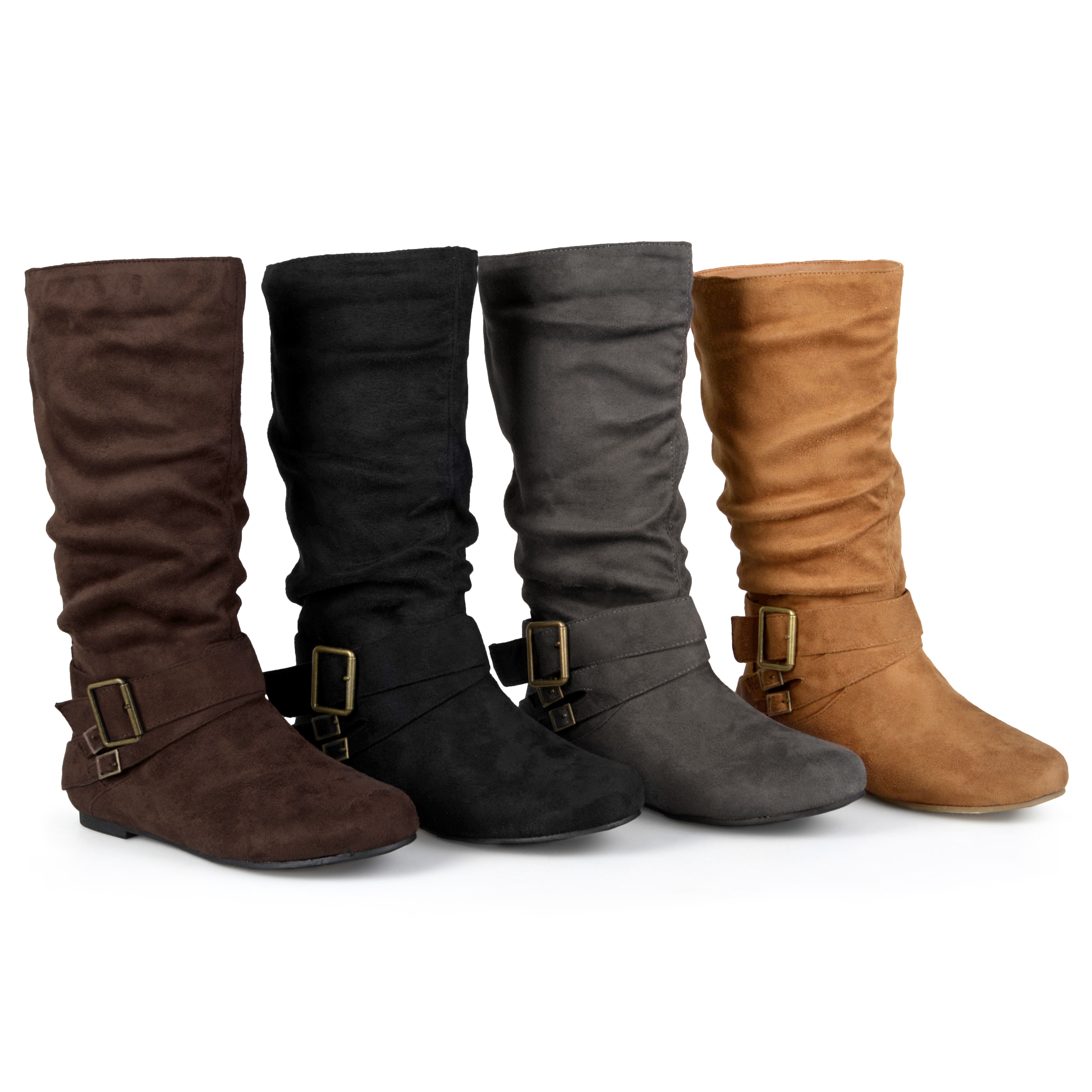 Brinley Co Womens Slouchy Boot With Side Accent Buckles Ebay