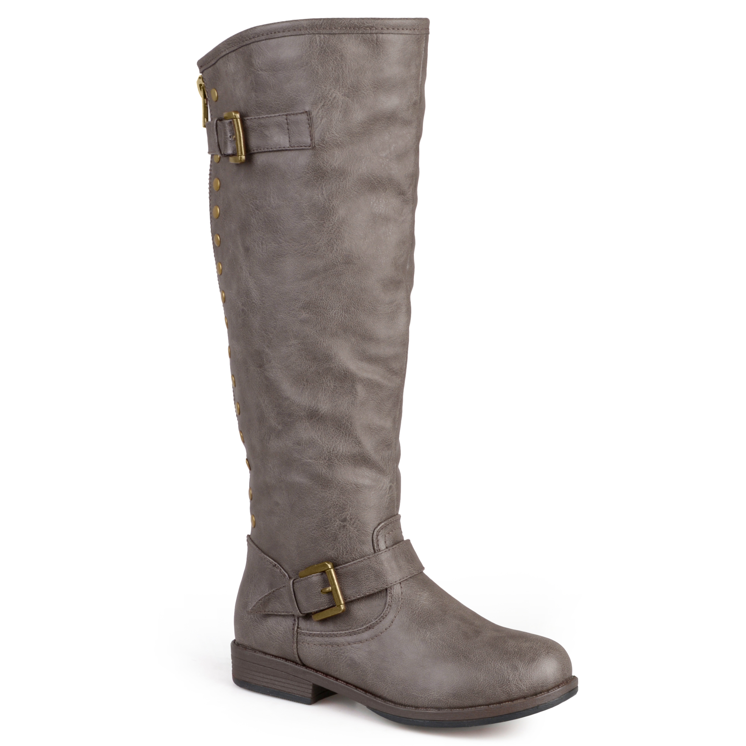 Journee Collection Womens Faux Leather Studded Wide Calf Boots w/ Faux Fur Lining at Sears.com