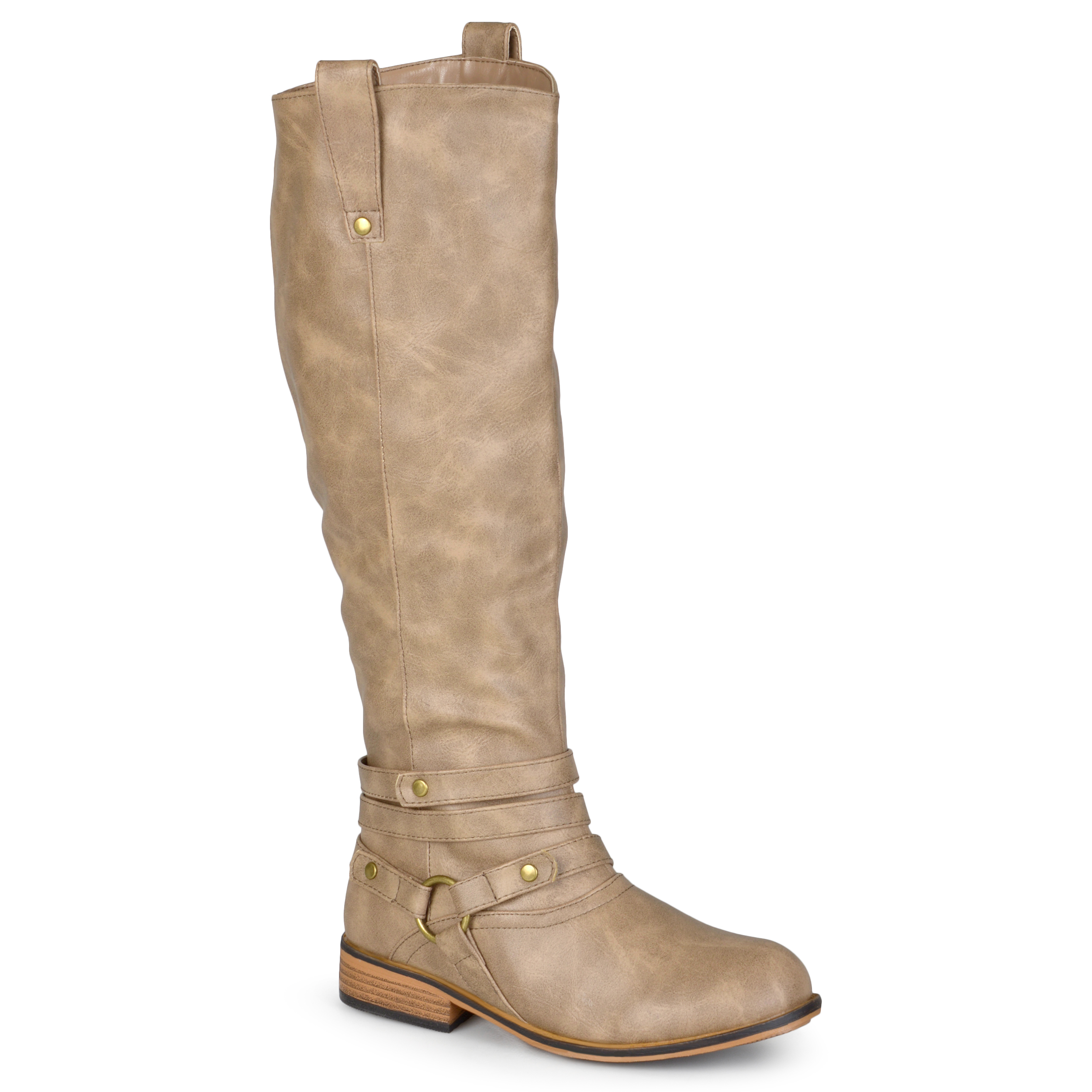 Journee Collection Womens PU leather Mid-calf Riding Boots w/Faux fur lining at Sears.com