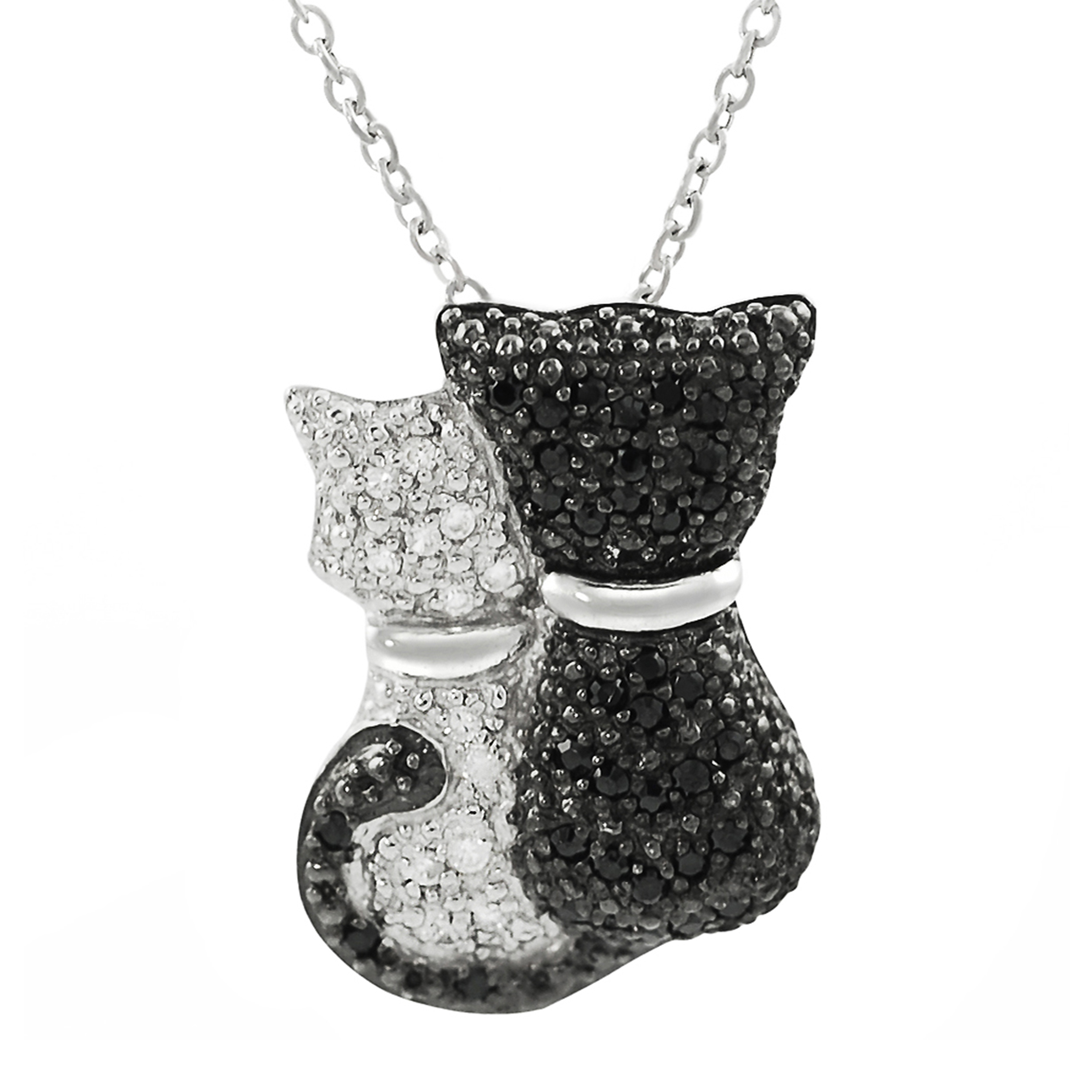 SilverBin Sterling Silver Black and White Cubic Zirconia Cat Necklace at Sears.com