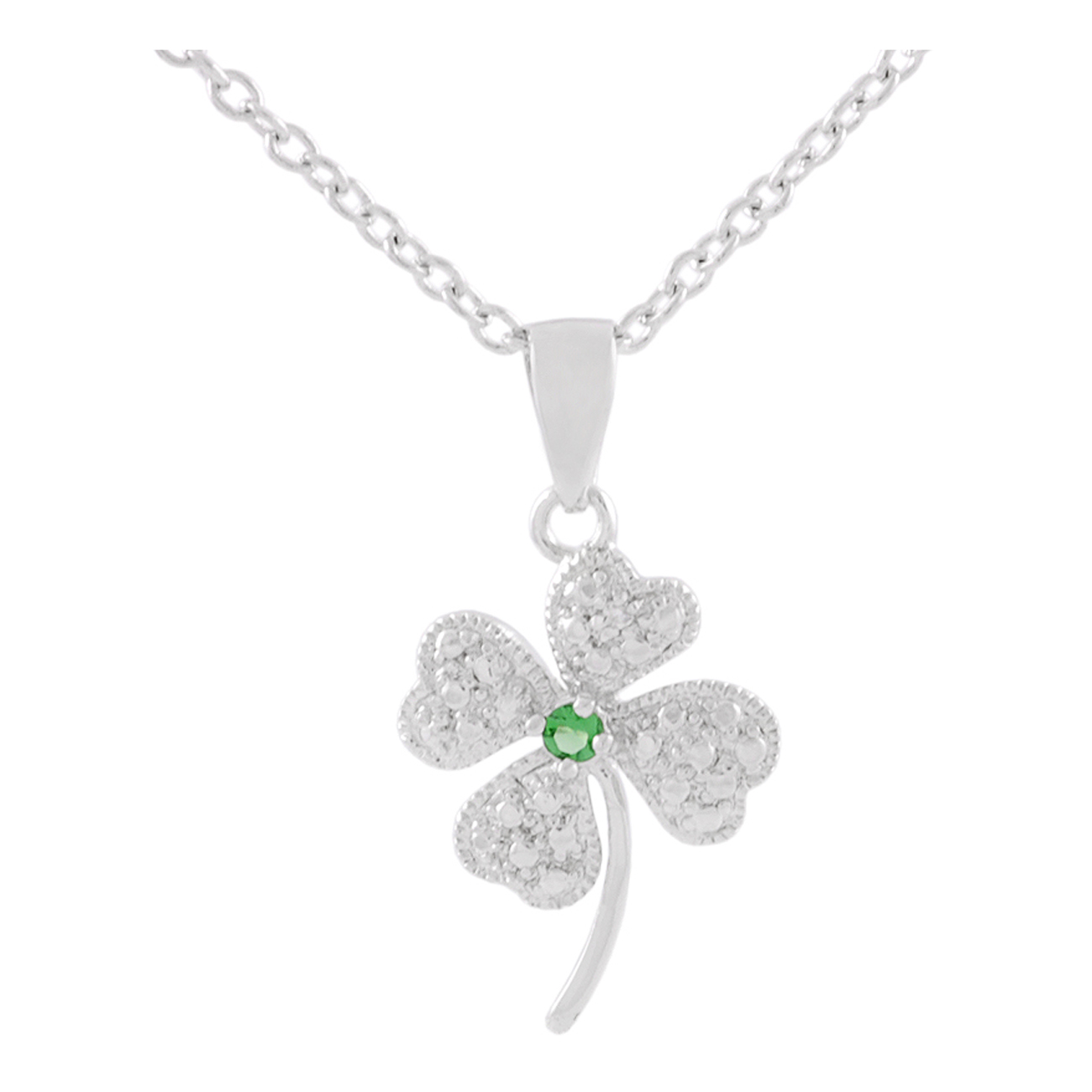 SilverBin Sterling Silver Cubic Zirconia Clover Necklace (Chain Included) at Sears.com