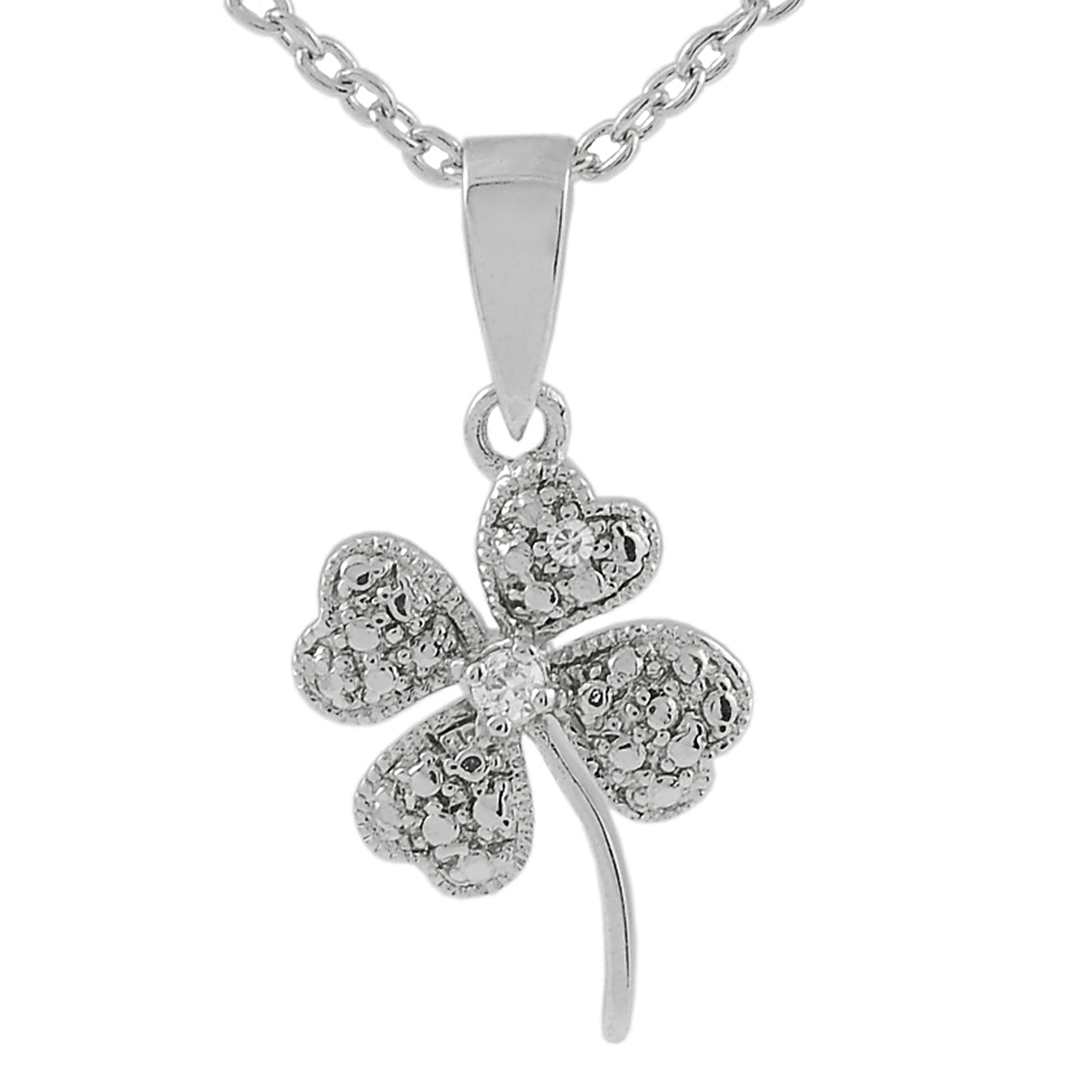 SilverBin Sterling Silver Cubic Zirconia Four Leaf Clover Necklace (Chain Included) at Sears.com