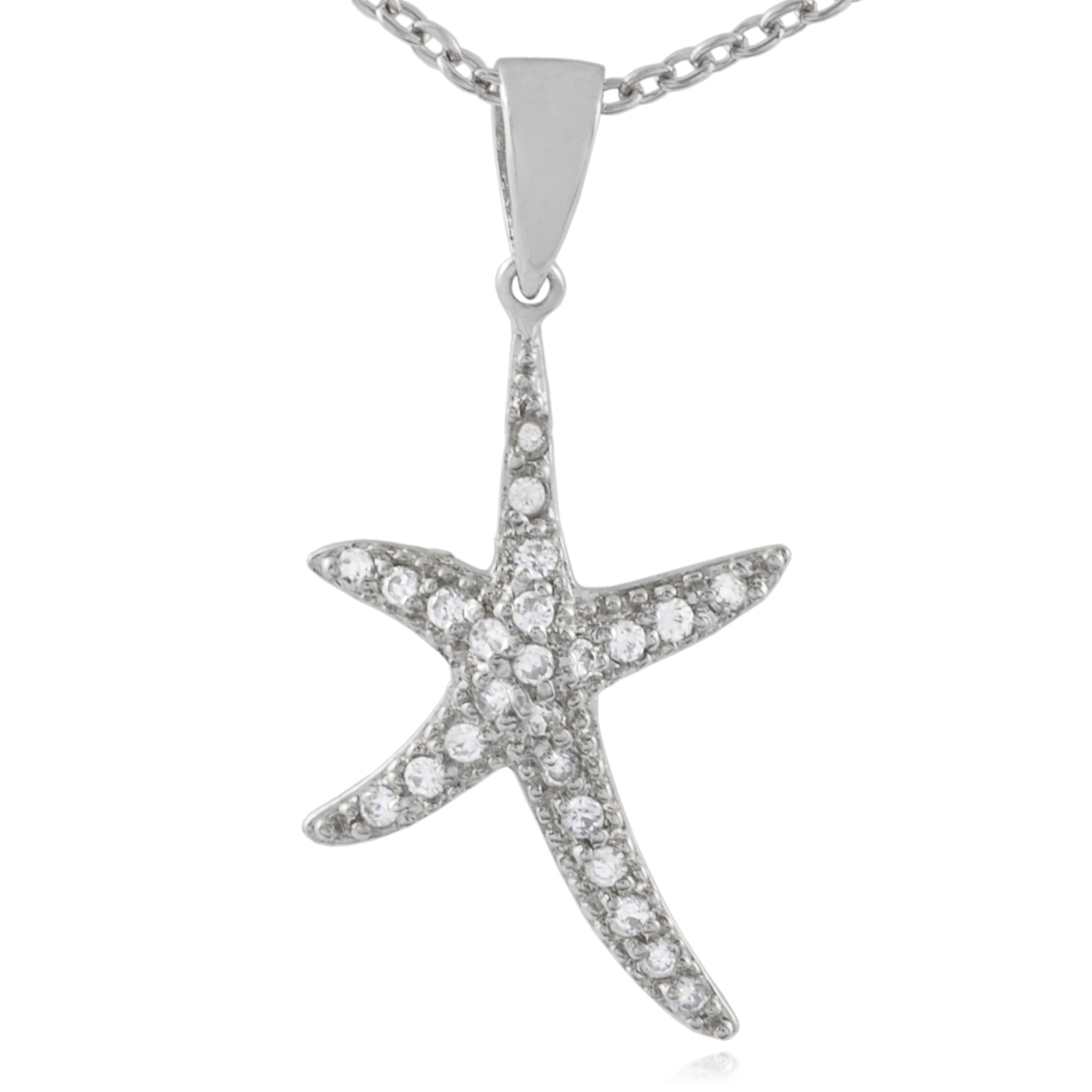 SilverBin Sterling Silver Cubic Zirconia Starfish Necklace (Chain Included) at Sears.com