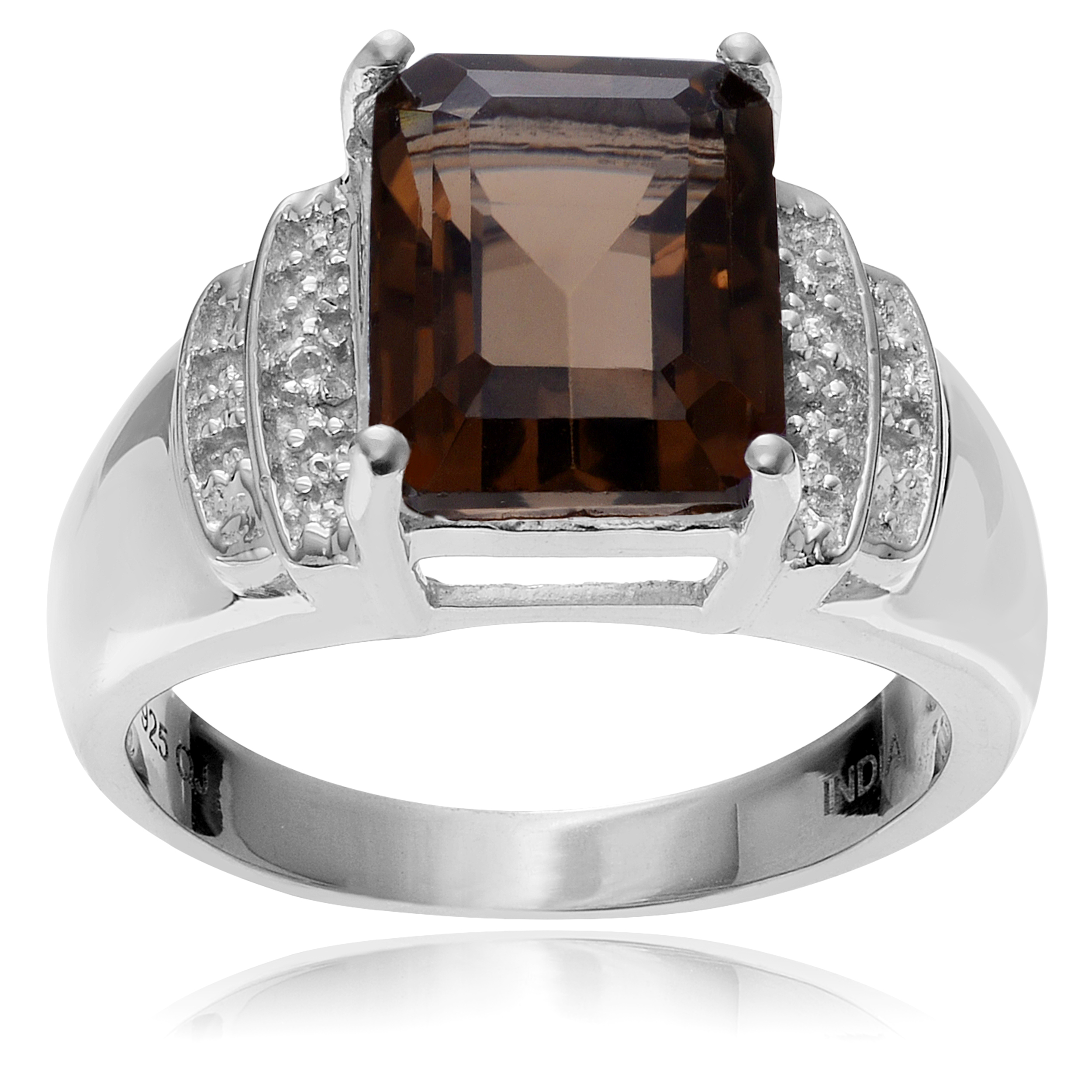 Brinley Co Sterling Silver Rhodium-plated Smoky White Topaz Ring
